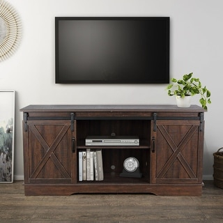 """Widely Used Tv Stands With Sliding Barn Door Console In Rustic Oak Intended For Shop Belleze Modern Farmhouse 58"""" Sliding Barn Door Tv (View 9 of 15)"""