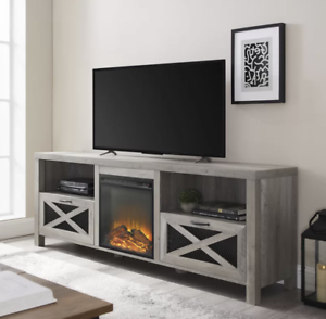 """Wood Gray Wash Tv Stand 70"""" Tv With Electric Fireplace Regarding Well Known Delphi Grey Tv Stands (View 4 of 15)"""