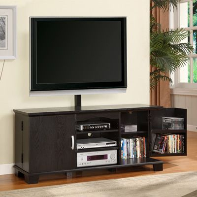 Wood Tv Console, Black (View 3 of 15)