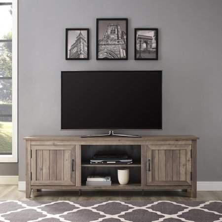 Woven Paths Farmhouse Grooved Door Tv Stand For Tvs Up To Regarding Latest Woven Paths Farmhouse Barn Door Tv Stands In Multiple Finishes (View 4 of 14)