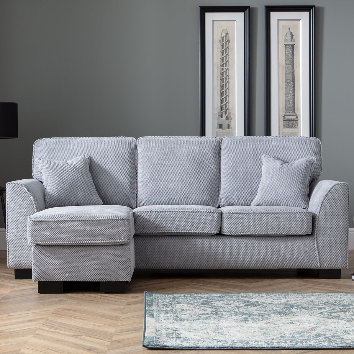 Zara Corner Chaise Sofa Dot Grey | Robert Dyas For London Optical Reversible Sofa Chaise Sectionals (View 4 of 15)