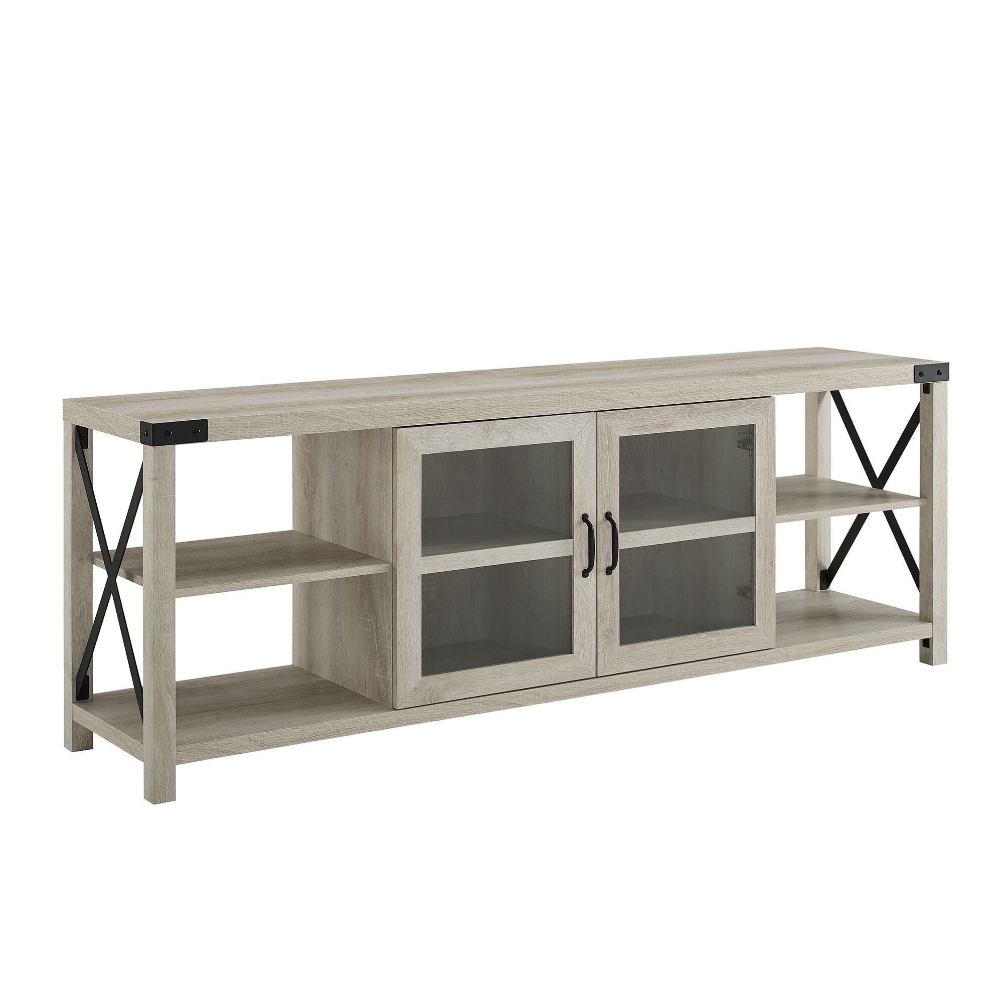 70 Inch Farmhouse Metal X Tv Stand – White Oakwalker Intended For Most Recent Brass Effect Wide Tv Stands (View 11 of 14)