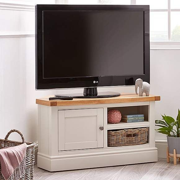 Compton Ivory Corner Tv Stand With Baskets In 2020 Intended For Most Popular Compton Ivory Large Tv Stands (View 2 of 11)