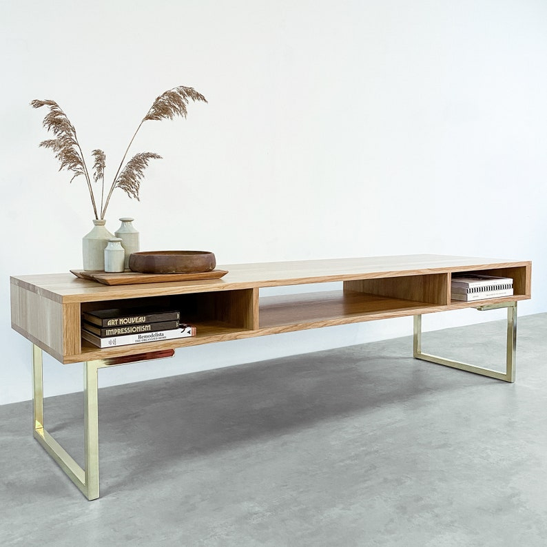 Extra Wide Solid Oak Tv Stand Or Coffee Table On Brass Within Most Up To Date Claudia Brass Effect Wide Tv Stands (View 12 of 14)