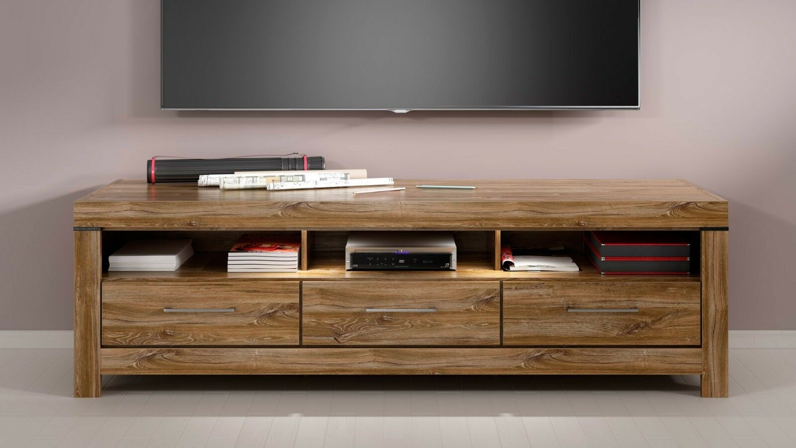 Famous Brass Effect Wide Tv Stands With Modern Tv Cabinet Unit Led Light 3 Drawers Oak Effect Tv (View 5 of 14)