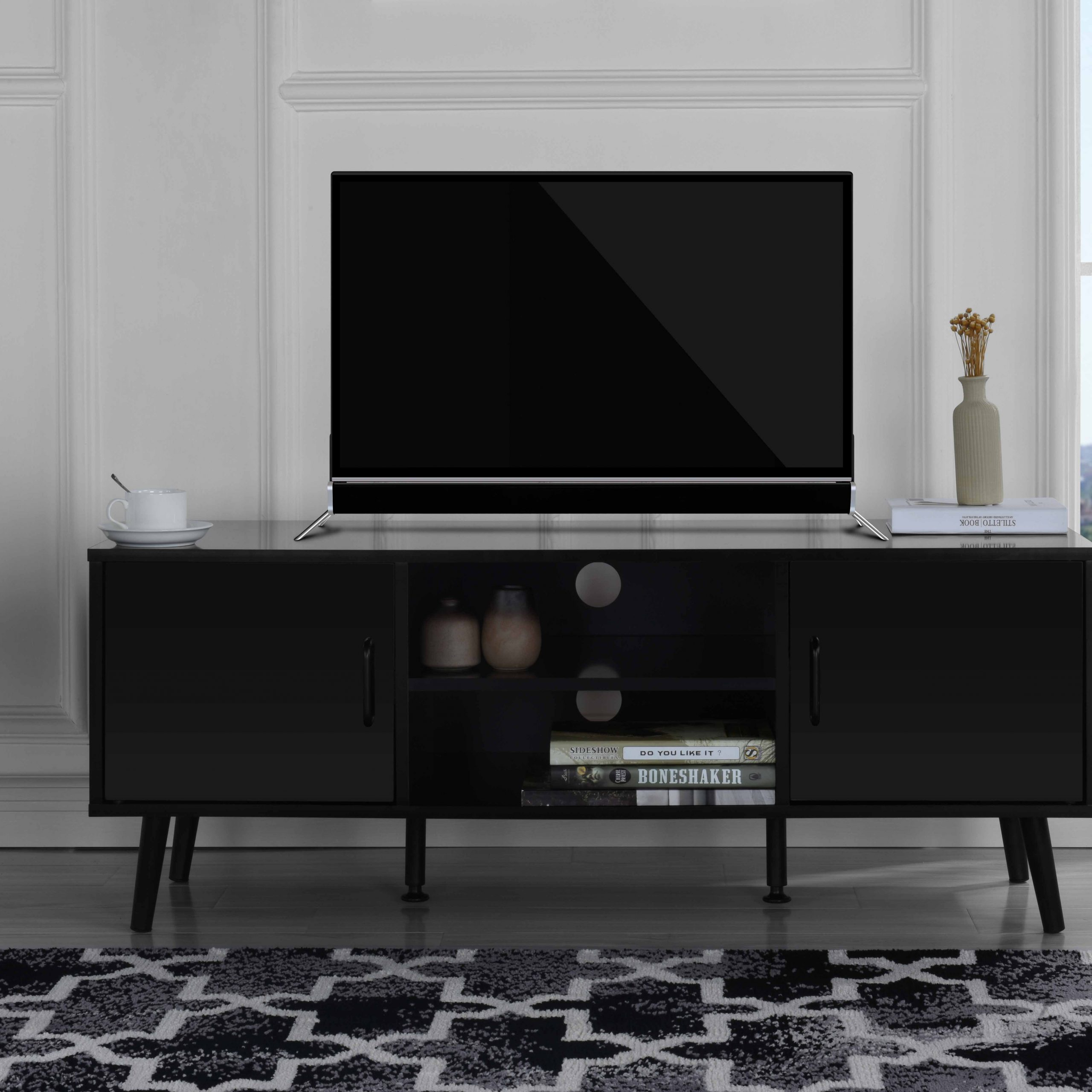 Mid Century Modern Tv Stand (Black)  (View 6 of 11)