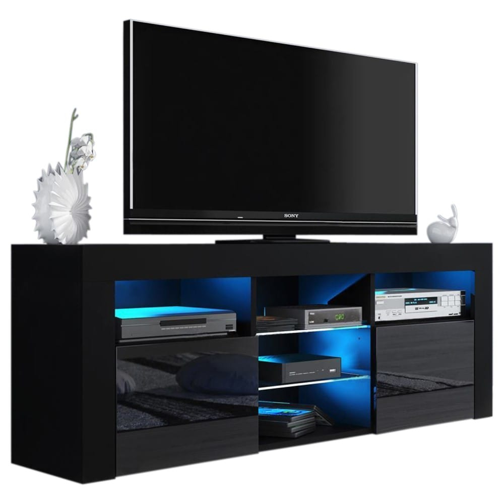 """Milano 145 Black Modern 58"""" Tv Standmeble Furniture Intended For 2018 Modern Tv Stands (View 8 of 11)"""