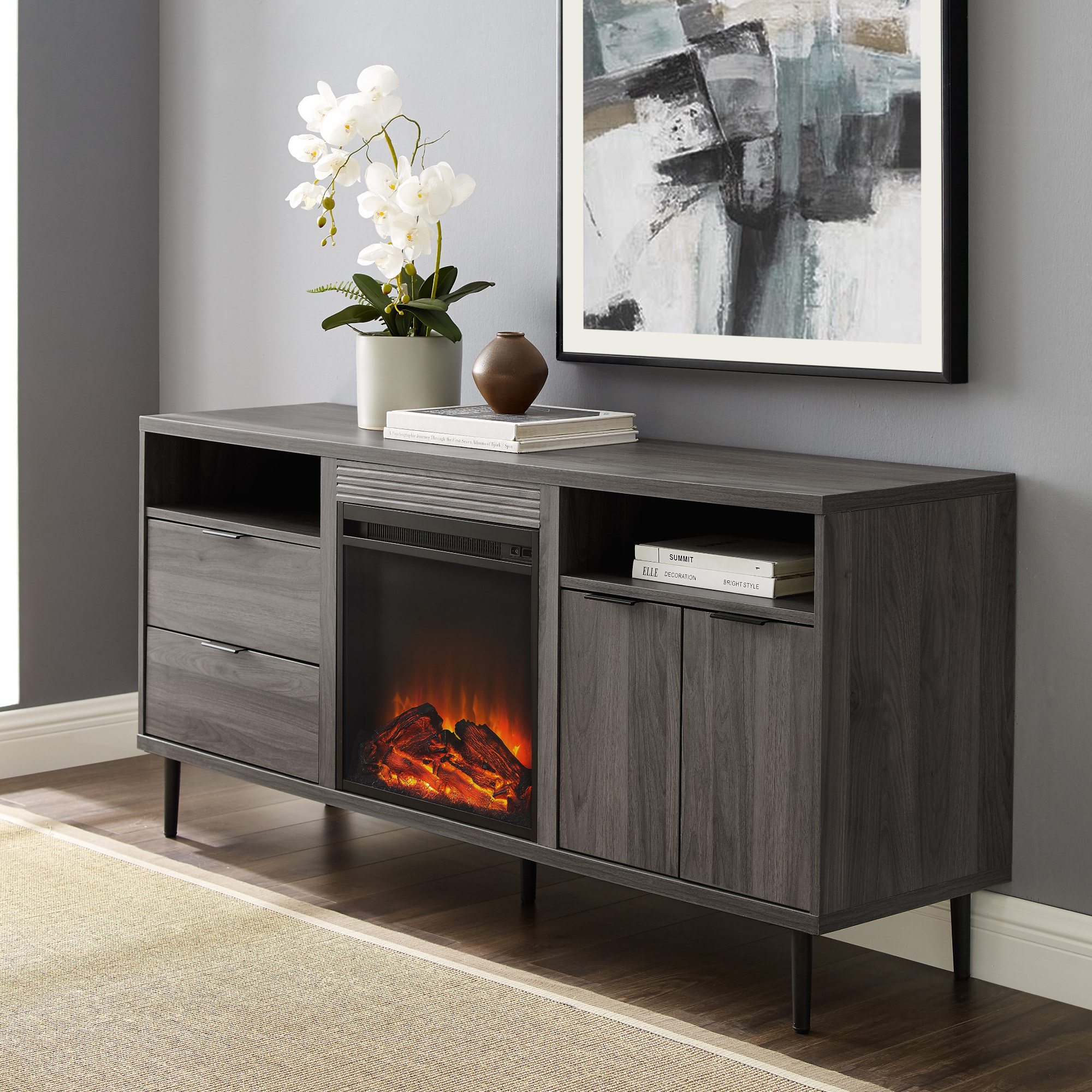 Most Recent Samira Tv Stands Throughout Manor Park Modern Fireplace Tv Stand For Tvs Up To  (View 2 of 11)