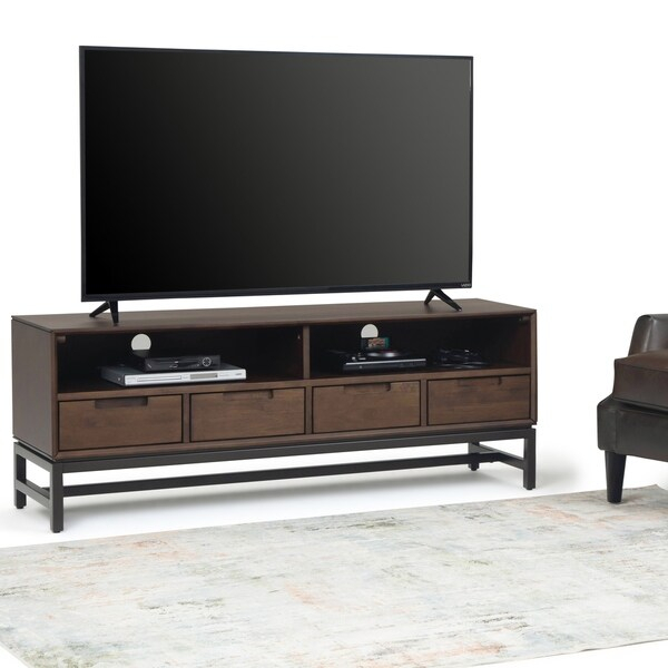 Shop Wyndenhall Devlin Solid Hardwood And Metal 60 Inch With Regard To Newest Claudia Brass Effect Wide Tv Stands (View 10 of 14)