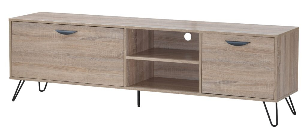 Sonoma Large Wooden Tv Stand In Oak Effect And Black Metal Intended For Famous Brass Effect Wide Tv Stands (View 9 of 14)