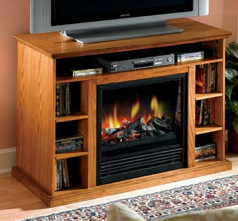 Tv Stand Media Center With Built In Fireplace For Fashionable Claudia Brass Effect Wide Tv Stands (View 4 of 14)