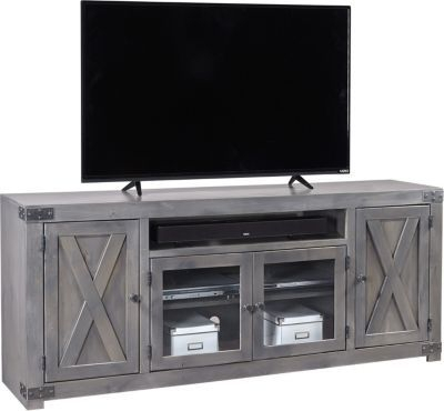 Well Known Brass Effect Wide Tv Stands Inside Aspen Urban Farmhouse 72 Inch Gray Barn Door Tv Stand (View 2 of 14)