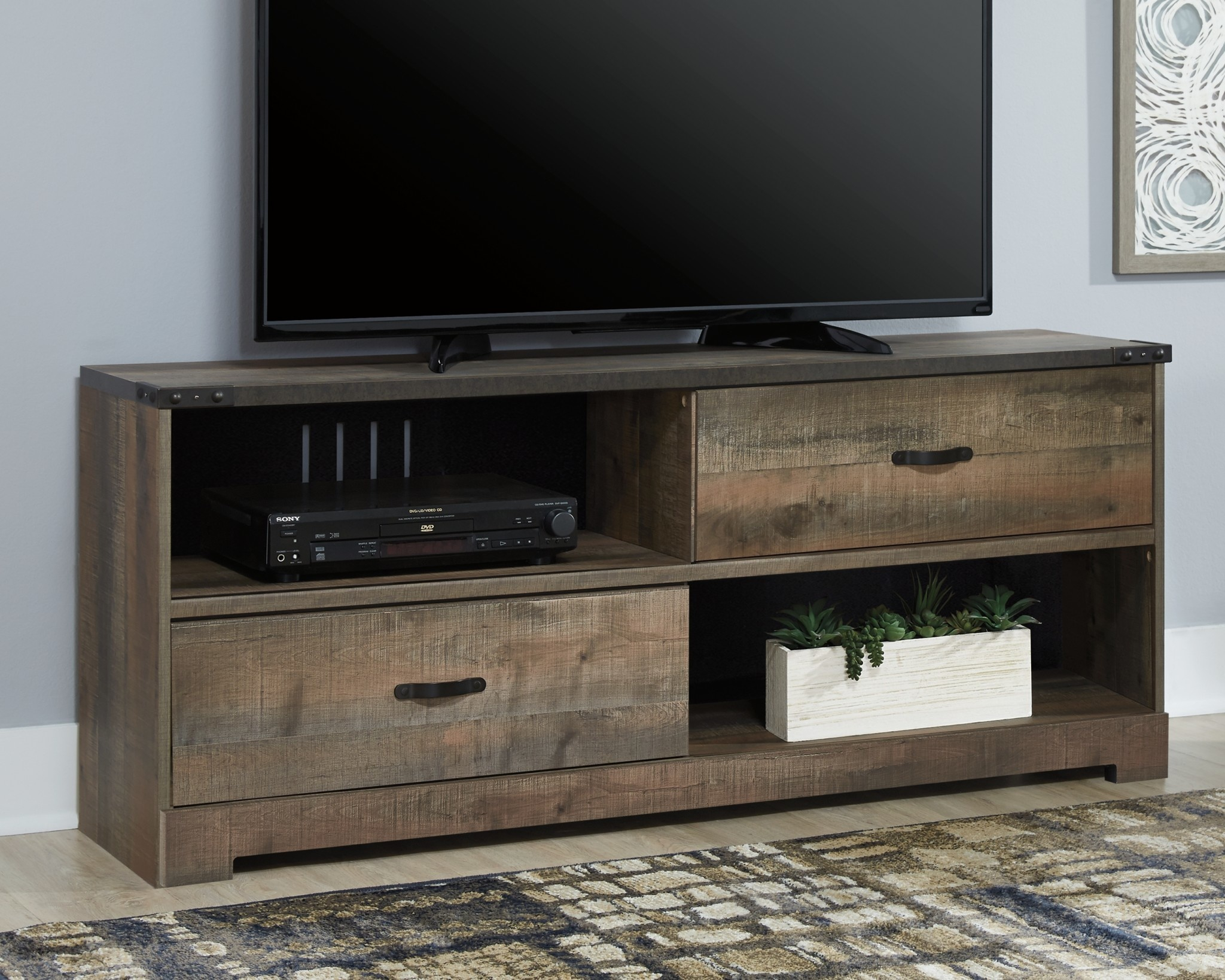 Well Known Compton Ivory Large Tv Stands Throughout Trinell  Large Tv Stand  Brown W446 468 – Hvl Electronics (View 8 of 11)