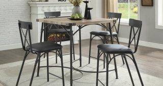 Caira Black 5 Piece Round Dining Sets With Upholstered Side Chairs
