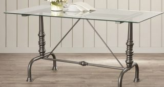 Ina Pewter 60 Inch Counter Tables With Frosted Glass