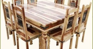 Solid Oak Dining Tables and 8 Chairs