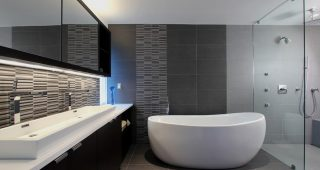 Gray Tile Bathroom Flooring Concept