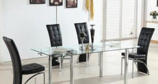 Extendable Glass Dining Tables and 6 Chairs