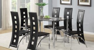Black Glass Dining Tables 6 Chairs