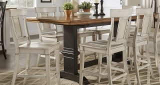 Wyatt 7 Piece Dining Sets With Celler Teal Chairs
