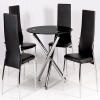 Round Black Glass Dining Tables and 4 Chairs (Photo 15 of 25)