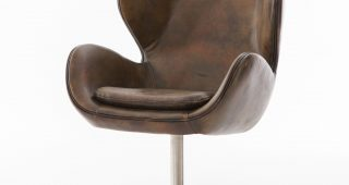 Espresso Leather Swivel Chairs