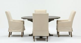 Combs 5 Piece Dining Sets With Mindy Slipcovered Chairs