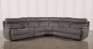 Denali Light Grey 6 Piece Reclining Sectionals With 2 Power Headrests