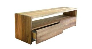 Oak & Brass Stacking Media Console Tables