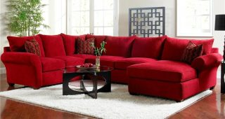Red Leather Sectionals With Chaise
