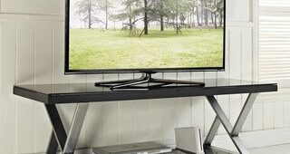 Modern Black Floor Glass Tv Stands With Mount