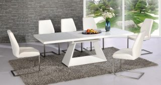 White High Gloss Dining Tables 6 Chairs