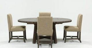 Jaxon Grey 5 Piece Round Extension Dining Sets With Upholstered Chairs
