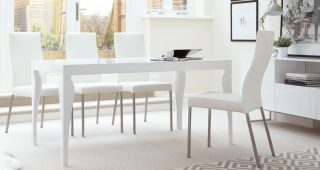 White Gloss Dining Tables and 6 Chairs