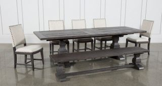 Norwood 7 Piece Rectangular Extension Dining Sets With Bench & Uph Side Chairs