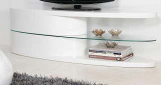 White Gloss Oval Tv Stands