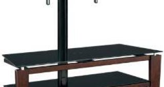 """Whalen Furniture Black Tv Stands for 65"""" Flat Panel Tvs With Tempered Glass Shelves"""