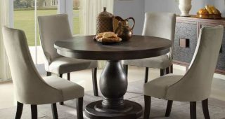 Jaxon 5 Piece Round Dining Sets With Upholstered Chairs