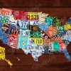 License Plate Map Wall Art (Photo 15 of 20)